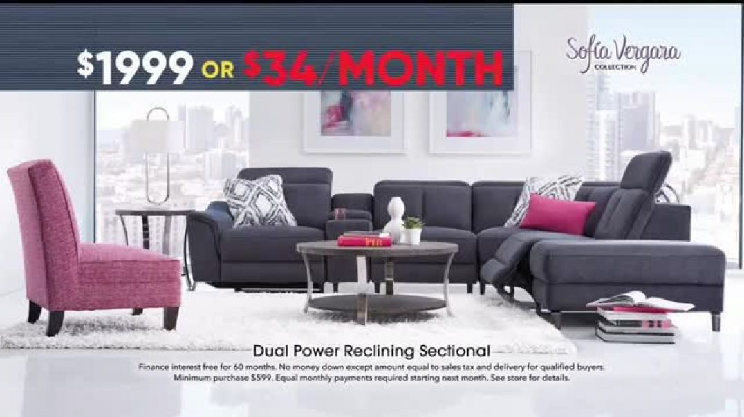 Rooms to Go Memorial Day Sale TV Commercial Ad Sofia Vergara Dual Power Reclining Sectional Commerc