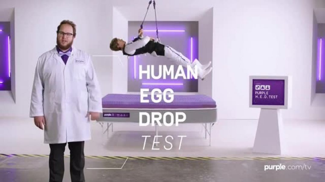 Purple Mattress Tv Commercial Ad 2019 Memorial Day Human Egg Drop Test Commercial 2019
