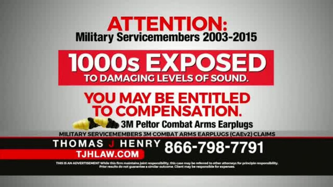 Watch Thomas J Henry Injury Attorneys Commercial 3M Earplug Military Hearing Loss Claims Paid Ad.m