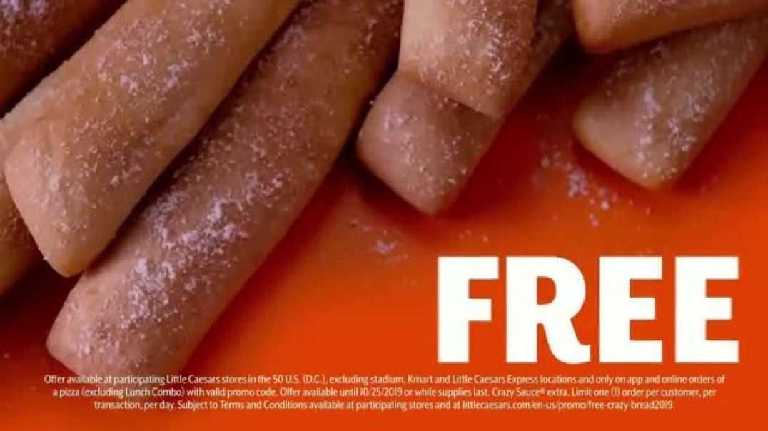 Watch Little Caesars Pizza TV Commercial Ad, Free Crazy Bread