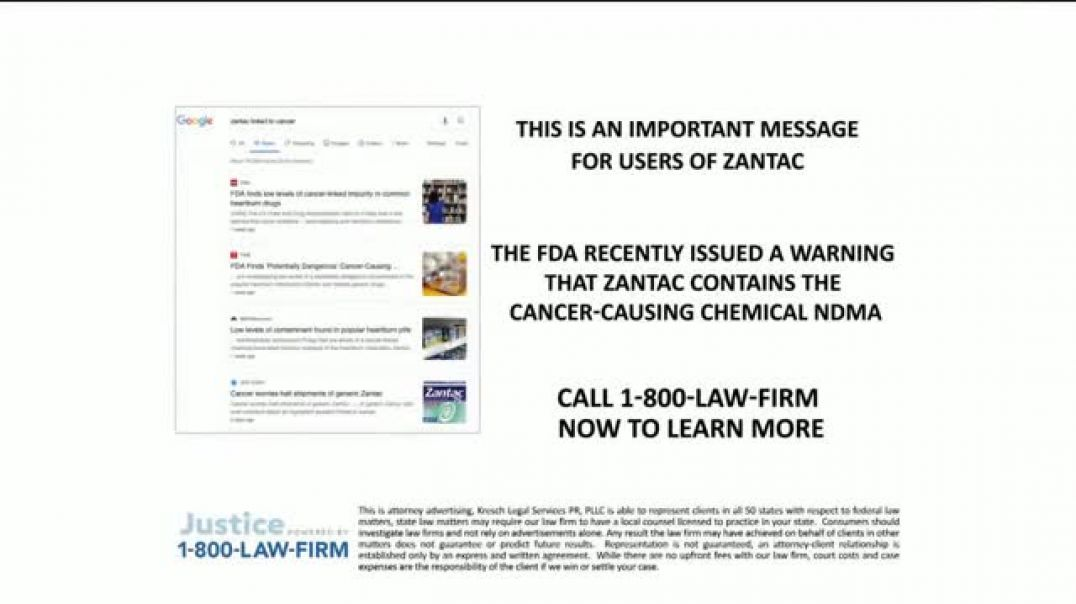 Watch 1800LAWFIRM TV Commercial Ad, Zantac