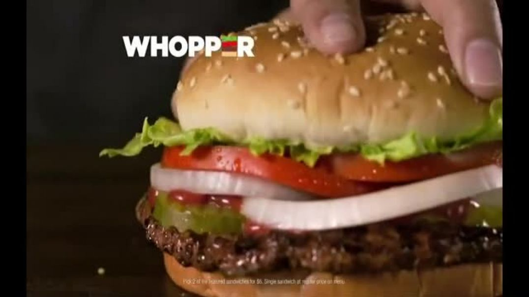 Burger King 2 for $6 Mix or Match TV Commercial Ad Flame Grilled Whopper 10 Nuggets for $1.49.mp4