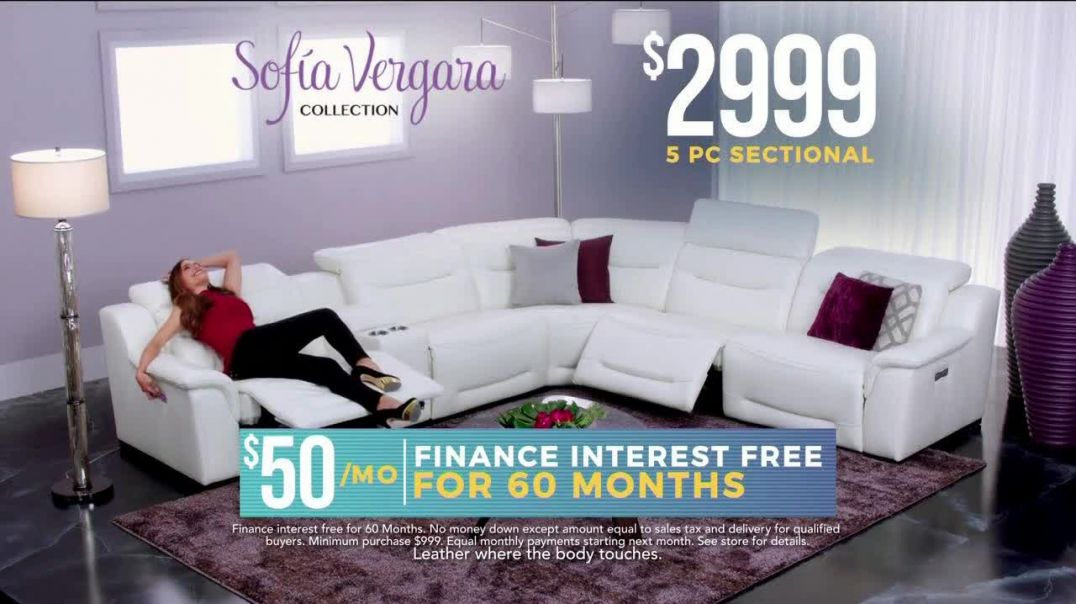 Rooms to Go Holiday Sale TV Commercial Ad Sofia Vergara Collection Leather Sectional.mp4
