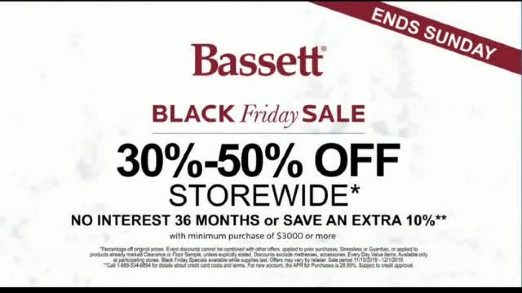 Bassett Black Friday Specials TV Commercial Ad Recliners, Dining Sets and Chairs.mp4