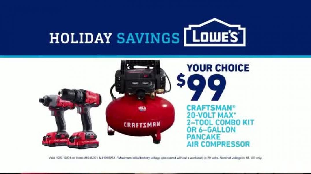 Lowes Holiday Savings TV Commercial Ad Combo Kit and Air Compressor.mp4