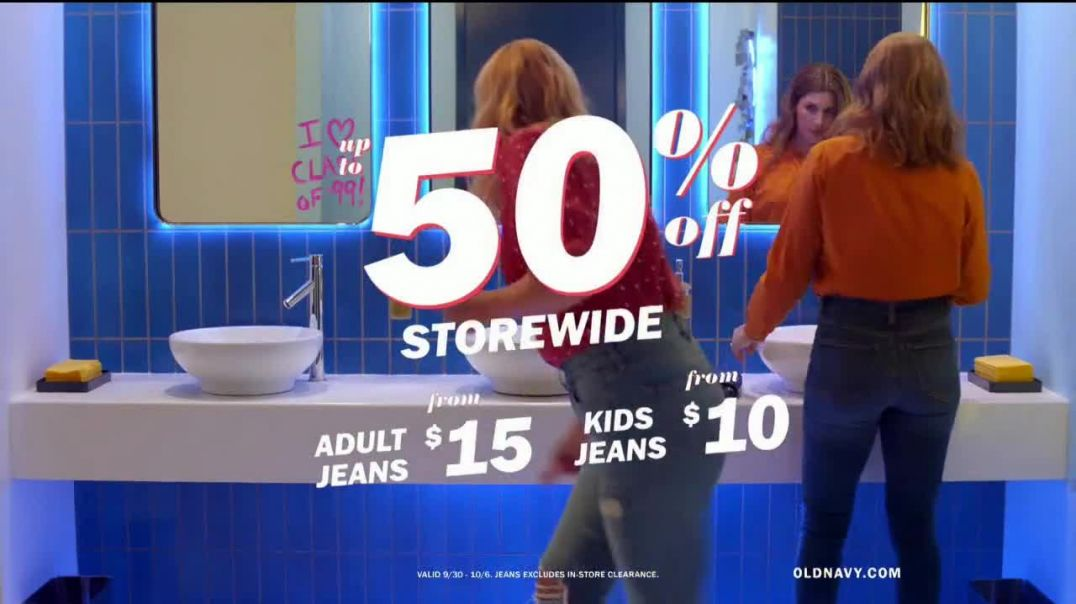 Old Navy HighRise Slim Straight Jeans TV Commercial Ad, Reunion 50 Percent Storewide Feat. Busy Phil