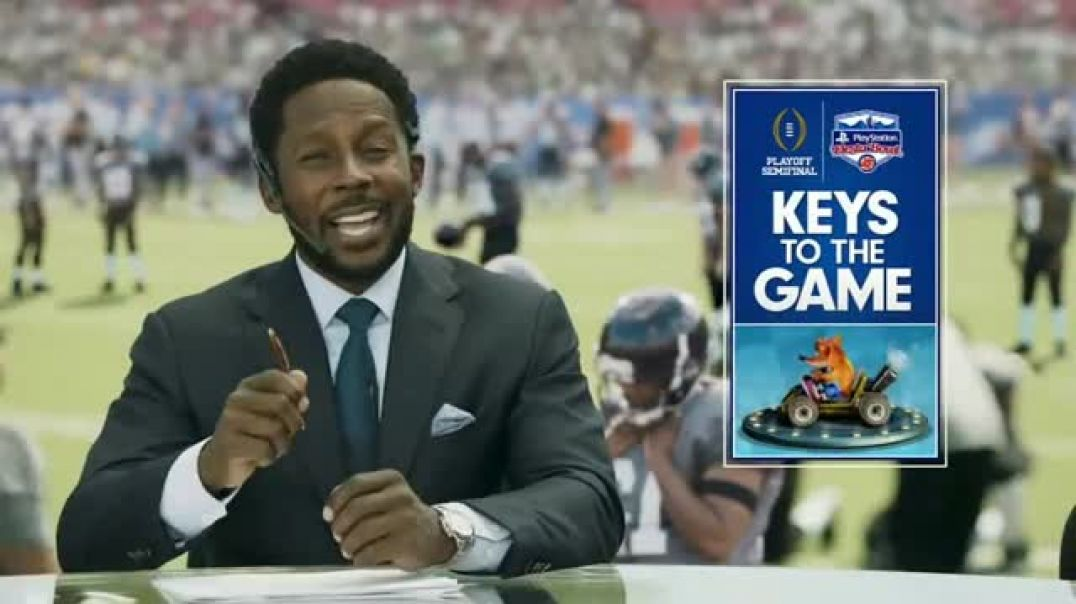 PlayStation TV Commercial Ad, 2019 Fiesta Bowl NitroFueled Kart Featuring Desmond Howard, Marty Smit