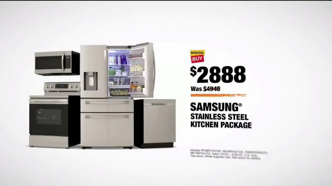 The Home Depot TV Commercial Ad,  Samsung Kitchen Package 40 Percent Off.mp4