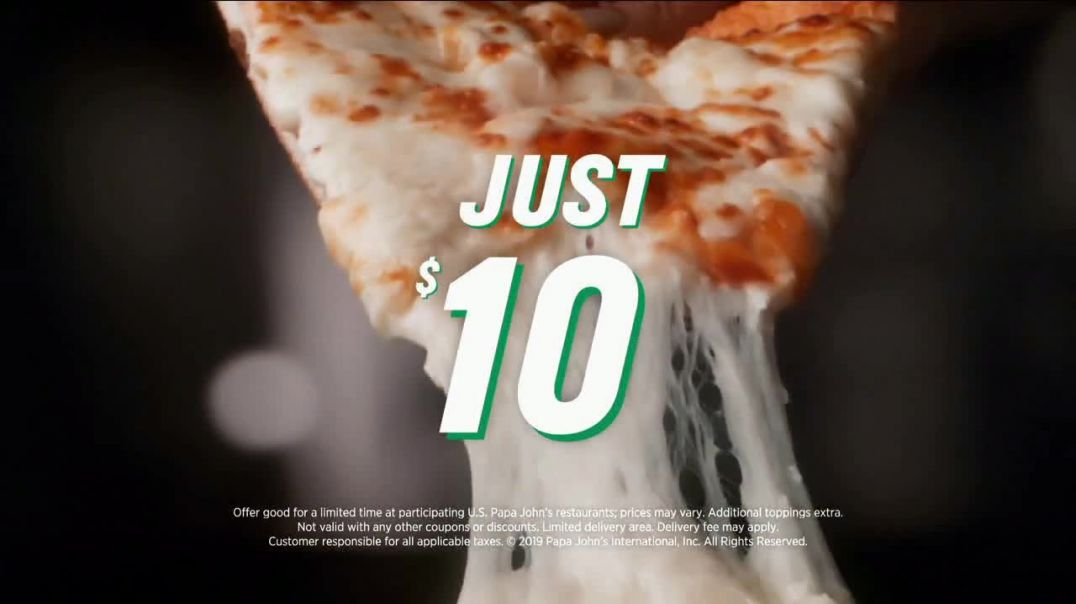 Papa Johns Extra Cheesy Alfredo Pizza on Garlic Parmesan Crust TV Commercial Ad, On.mp4