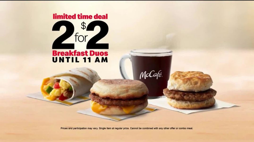 McDonalds Breakfast Duos 2 for $2 TV Commercial Ad, Wake Up Mix & Match.mp4