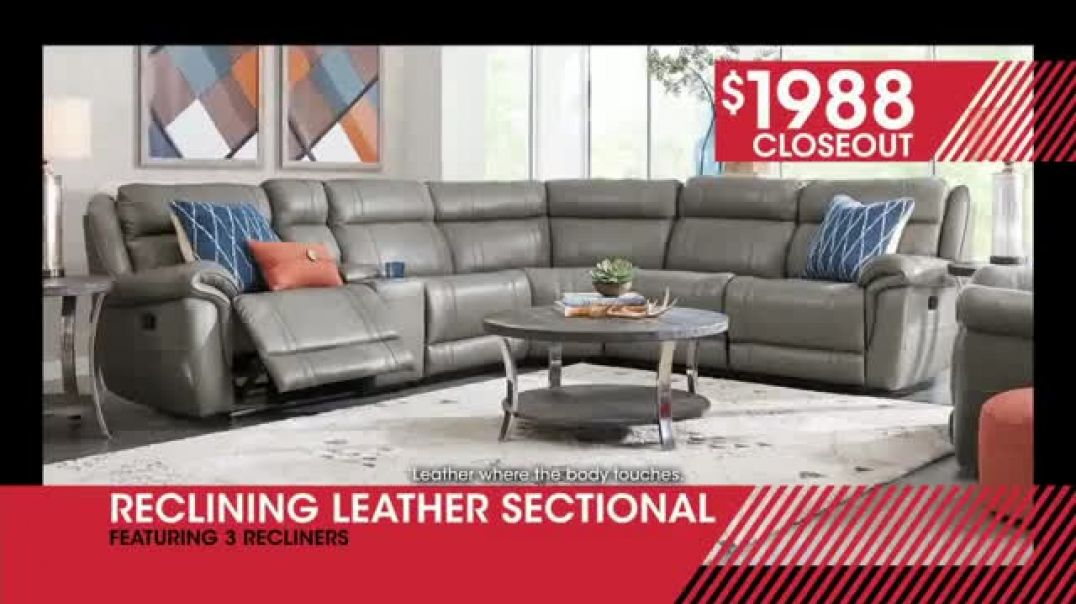 Rooms to Go January Clearance Sale TV Commercial Ad, Reclining Leather Sectional.mp4