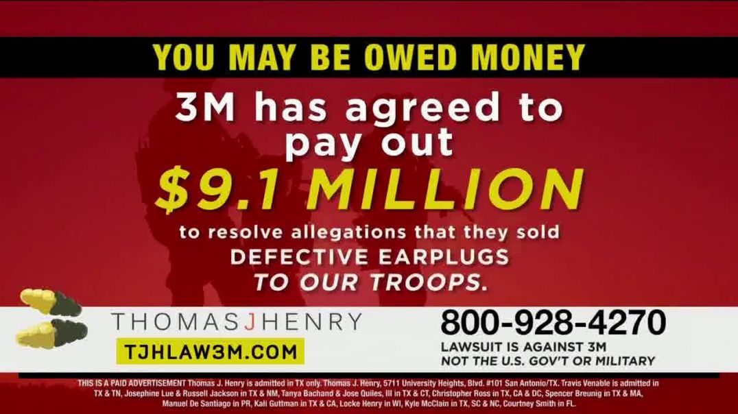 Thomas J. Henry Injury Attorneys TV Commercial Ad, Combat Arms Earplugs 3M Payout.mp4