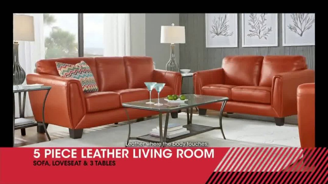 Rooms to Go January Clearance Sale TV Commercial Ad, Five Piece Leather Living Room.mp4