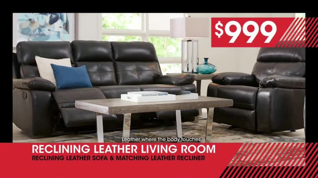 Rooms to Go January Clearance Sale TV Commercial Ad, Brown Reclining Leather Living Room.mp4