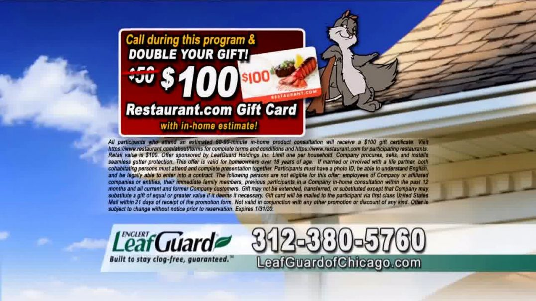LeafGuard of Chicago 99 Cent Install Sale TV Commercial Ad, ClogFree Guarantee.mp4