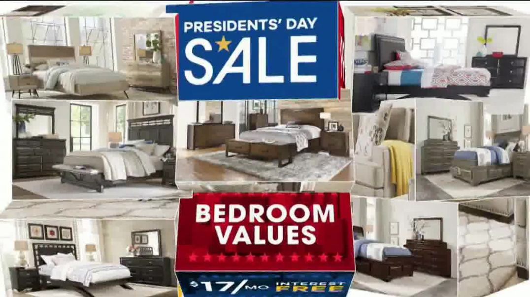 Rooms to Go Presidents Day Sale TV Commercial Ad, Living Rooms, Bedroom Buys and Dining Room Values.