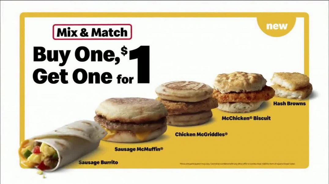 McDonalds Mix & Match Buy One Get One for $1 TV Commercial Ad, Back to the Classics.mp4