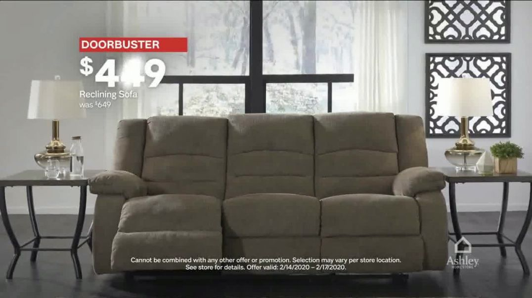 Ashley HomeStore Presidents Day Sale TV Commercial Ad, Doorbusters Queen Bed and Reclining Sofa.mp4