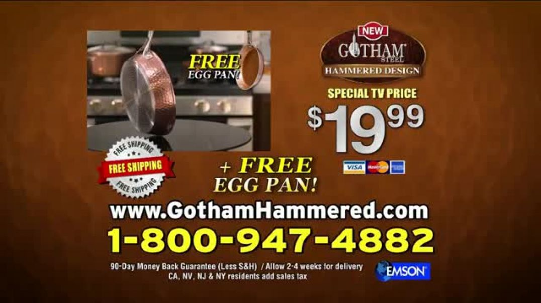 Gotham Steel Hammered Collection TV Commercial Ad, Reviews Free Pan