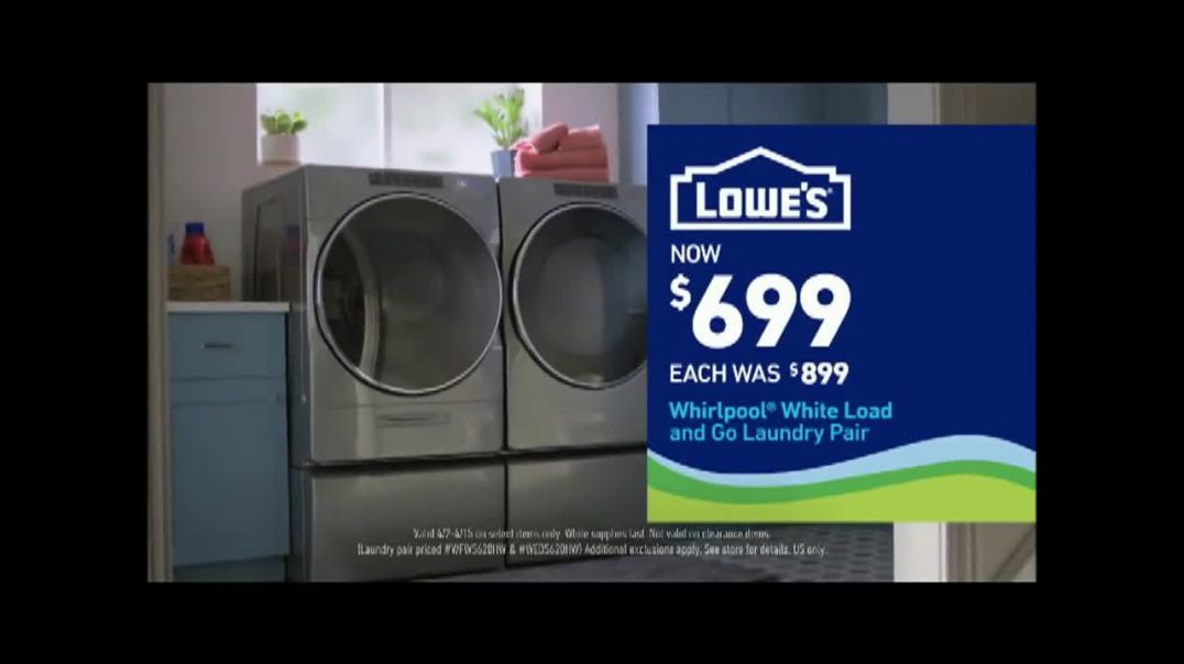 Lowes TV Commercial Ad 2020, Staying Home Whirlpool White Load and Go Laundry Pair