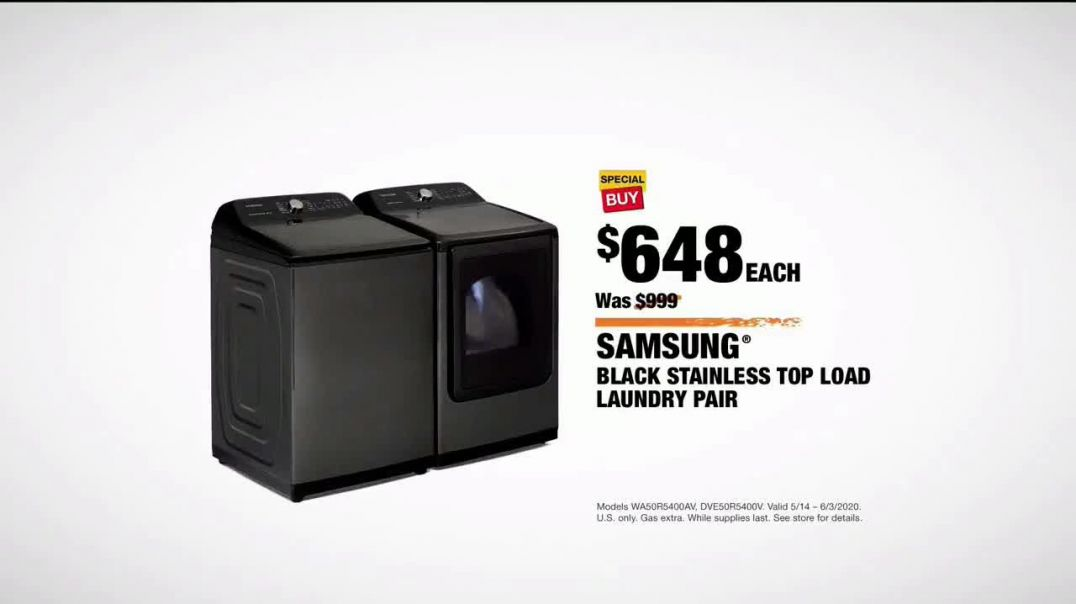 The Home Depot TV Commercial Ad 2020, Summer Appliance Help- Black Samsung Laundry Pair for $648 Eac