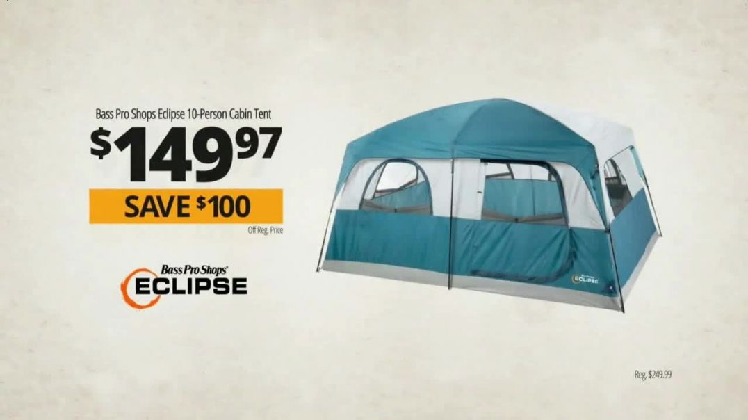Bass Pro Shops Go Outdoors Sale TV Commercial Ad 2020, Eclipse Tent and Kayaks