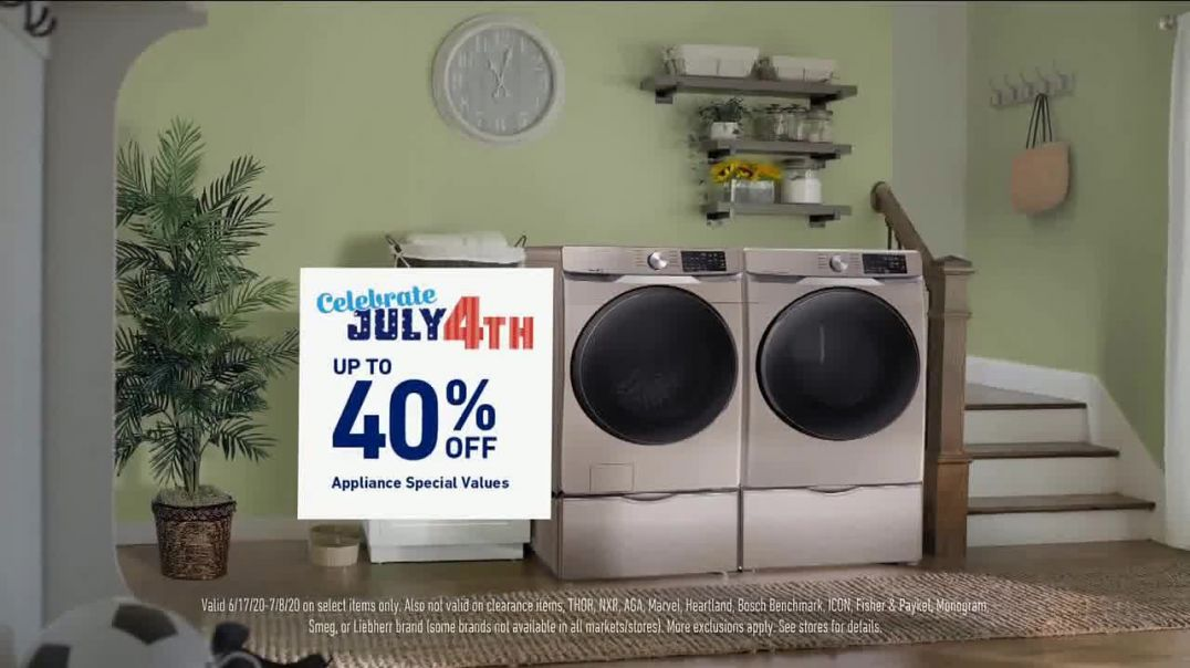 Lowes TV Commercial Ad 2020, 4th of July- 40 Percent Off Samsung Laundry Pair