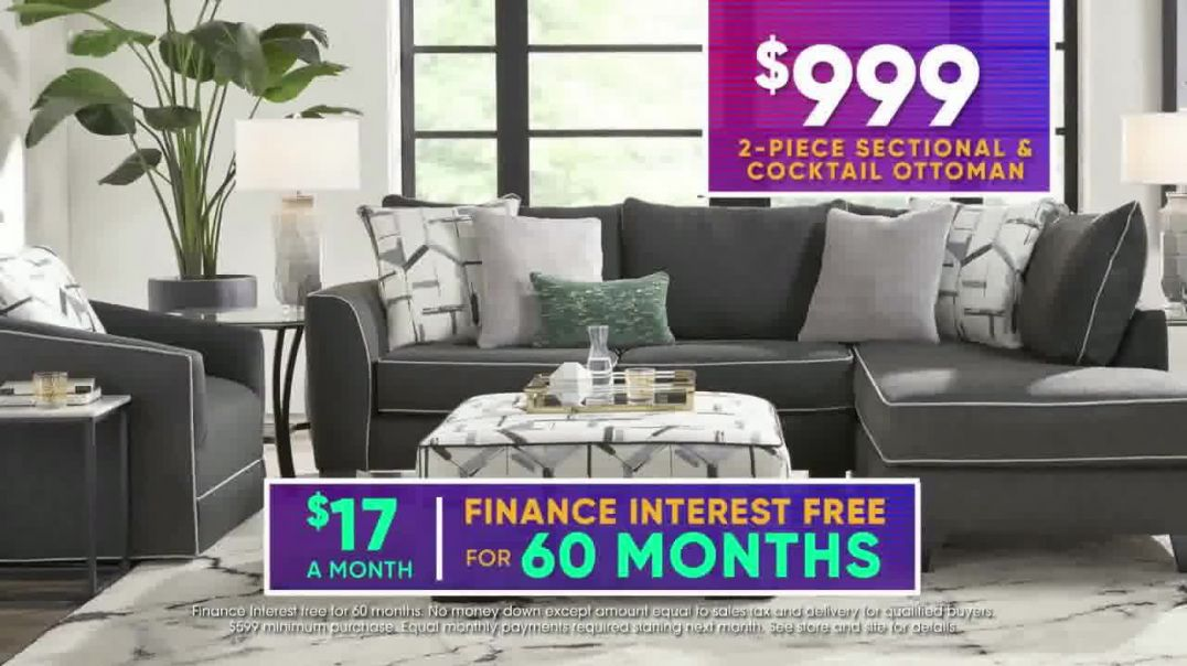 Rooms to Go July 4th Hot Buys TV Commercial Ad 2020, Two Piece Sectional and Ottoman- $999