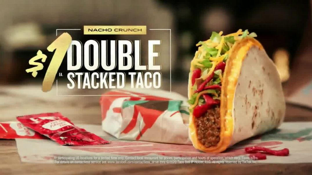 Taco Bell $1 Nacho Crunch Double Stacked Taco TV Commercial Ad 2020, New Challenge