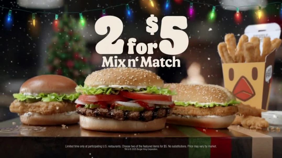 Burger King 2 for $5 Mix n' Match TV Commercial Ad 2020, 'Christmas in July' Featuring Daym Drops
