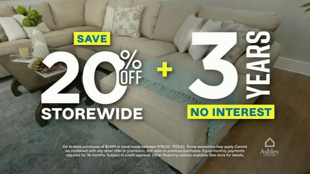 Ashley HomeStore Weekend Sale TV Commercial Ad 2020, 20% Off Storewide