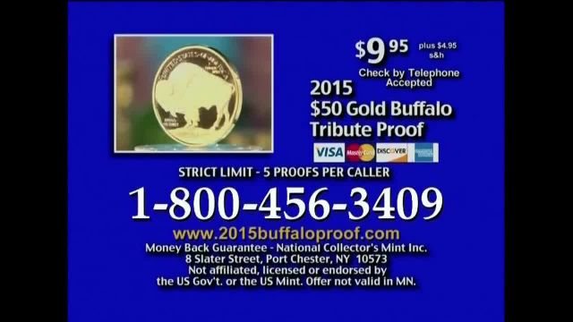 National Collector's Mint TV Commercial Ad 2021, 2015 Gold Buffalo Tribute Proof