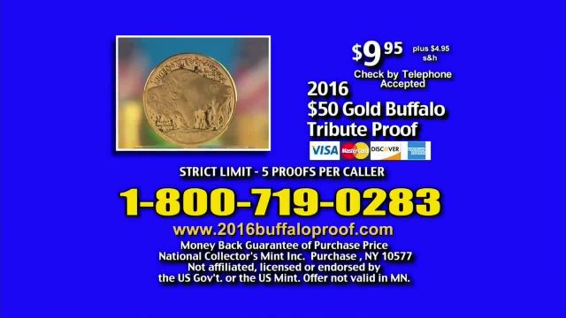 National Collector's Mint 2016 Gold Buffalo Tribute Proof TV Commercial Ad 2021, Pure