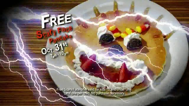 IHOP Free Scary Face Pancake TV Commercial Ad 2021, Scary Face Pancakes at IHOP