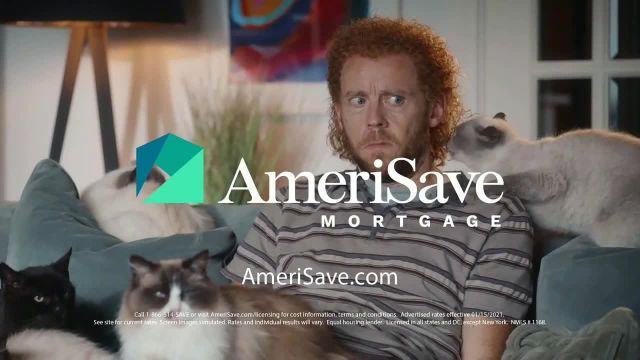 AmeriSave Mortgage TV Commercial Ad 2021, Mike the Cat Lady Man- Mortgage Rate