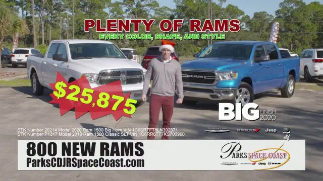 Parks CDJR Space Coast Big Finish 2020 TV Commercial Ad 2021, Employee Pricing Plus- Santa