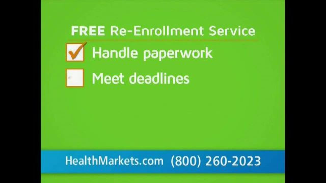 HealthMarkets Insurance Agency TV Commercial Ad 2021, Free Re-Enrollment Service